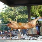 Cochon cuit à la broche